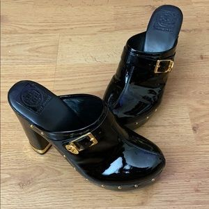 Tory Burch Black Patent Leather Clogs